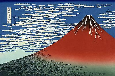 Red Mount Fuji Japanese Woodblock Print by Hokusai & FREE Iris Poster 36 Views