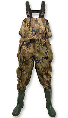 Michigan Camouflage Nylon Fly Coarse Fishing Chest Waders With Belt – Size 6-12