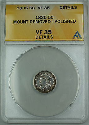 1835 Bust Silver Half Dime 5c, ANACS VF-35 Details LDS5, TJB