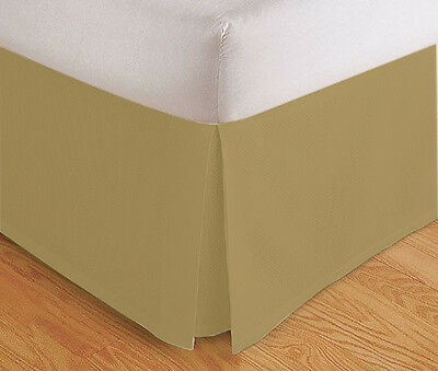 "Tailored Bed Skirt. Dust Ruffle, Pleated, 14"" Drop, Gold White, Full Queen King"