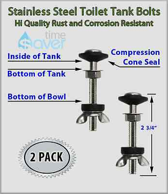 Stainless Steel Toilet Tank Mounting Kit | 2 Bolt Set | No Rust or Corrosion