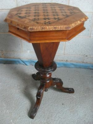 Victorian Walnut and Tunbridge inlaid trumpet sewing work / games table