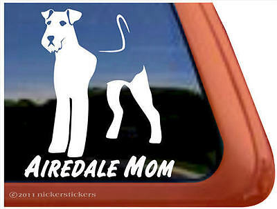 Airedale Mom ~ High Quality Airedale Dog Vinyl Window Decal Sticker