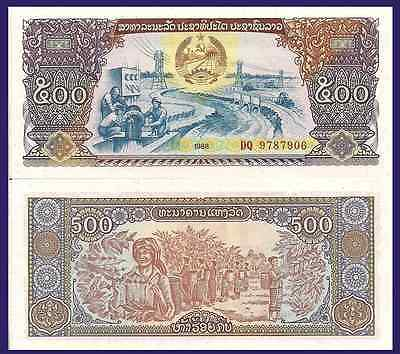 Laos P31a, 500 Kip, irrigation system / coffee bean harvest, 1988 $3 CV! UNC