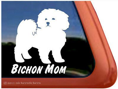 Bichon Mom ~  High Quality Bichon Frise Dog Vinyl Window Decal Sticker