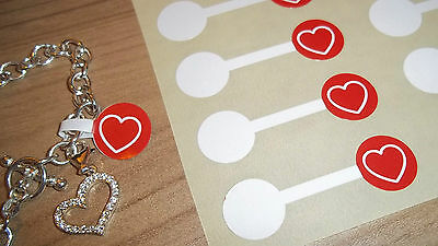 Jewellery Valentines Red Heart Price Stickers Labels Tags Dumbells - Jewelry