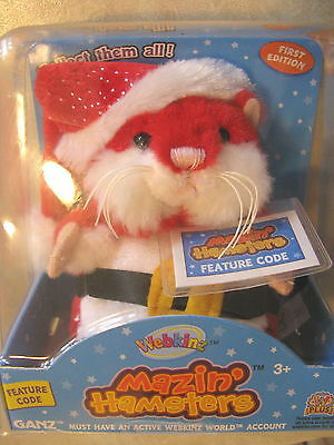 Hamster Santa Claus Webkinz Mazin Hamsters Stuffed Toy GAme NIB Ganz