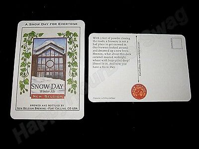 100 Snow Day Winter Ale Beer Coasters Fat Tire New Belgium Brewing Co. Post Card