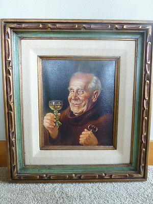 Antique vintage wood framed print old man robed wine key signed SPITZ bishop art