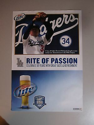 Fernando Valenzela Dodgers Poster Miller Lite MLB LA MGD light baseball bar time