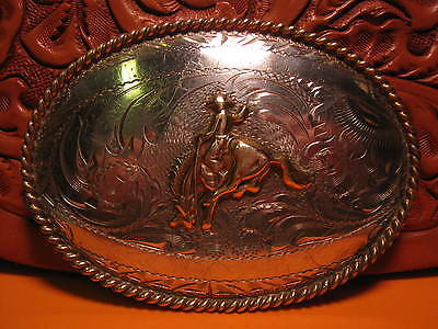 AWESOME OLD SOLID STERLING Front Cowboy on Bucking Horse Yoakum TX  Belt Buckle