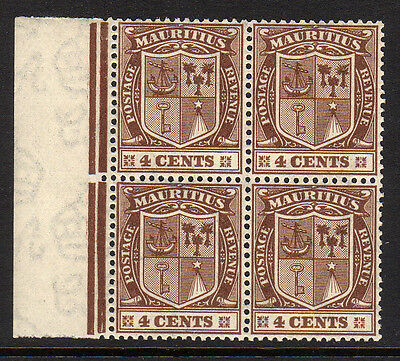 MAURITIUS 1921 4c BROWN IN BLOCK OF FOUR SG 211 MNH.