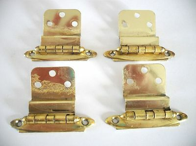 "2 Pair VINTAGE Brass Plated Cabinet Door Hinges 3/8"" Inset Pre-owned"