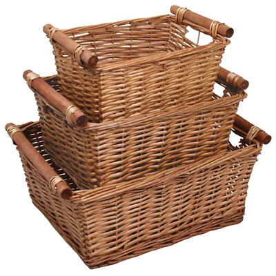 JVL Set of 3 Willow Wicker Storage Baskets with Wooden Handles Home Office