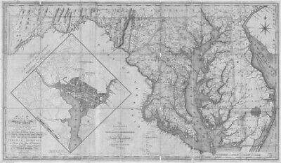 1794 MD MAP Perry Hall Pikesville Potomac River Randallstown  Genealogy SURNAME