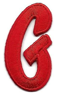 """LETTERS ~ RED Script 2/"""" Letter /""""C/"""" Patch Embroidered Appliqué Initial 62E2"""