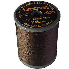 Brother satin finish embroidery thread. 300m spool DARK BROWN 058