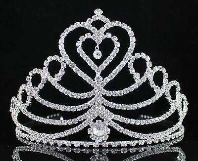 Hearts Clear Austrian Rhinestone Crystal Crown Tiara W/ Combs Bridal Prom H1408