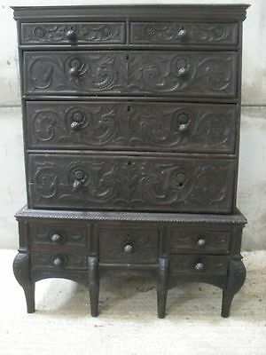 17th/18th Century heavy carved dark Oak chest on stand