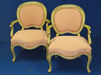 2x CHIC 40's DOROTHY DRAPER ERA SWIRL LINE CARVED WOOD OCCASIONAL ARM CHAIR