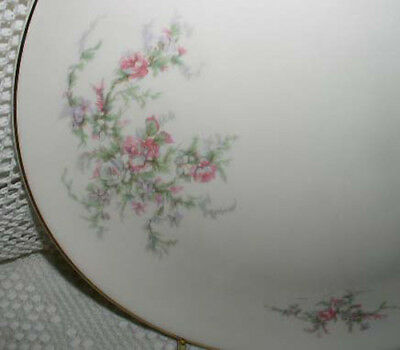 """Taylor Smith Taylor Versatile Bread Cake Plate 6-3/8"""" Pink Gray Flower Leaves"""
