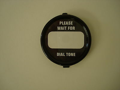 "Western Electric telephone dial center set in black ""Wait for dial tone"""
