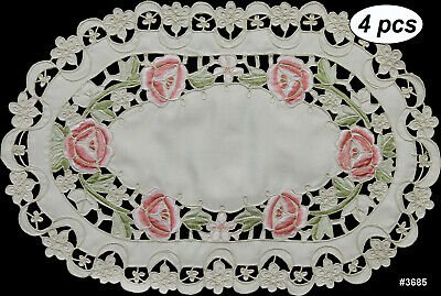 "Spring Embroidered Rose Daisy Floral Cutwork Placemat 11x17"" Beige #3685"