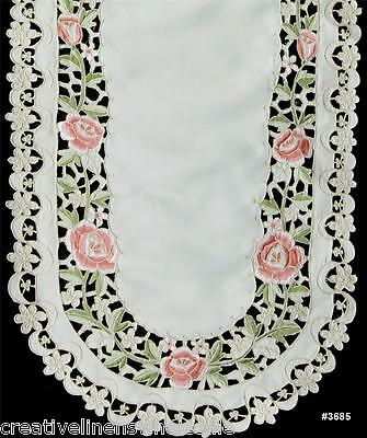 "Spring Embroidered Rose Daisy Floral Cutwork Table Runner 15x44"" Beige #3685"