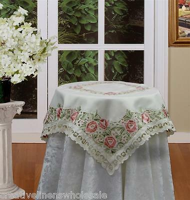 """Spring Embroidered Rose Daisy Floral Cutwork Tablecloth 34x34"""" Square Beige 3685"""