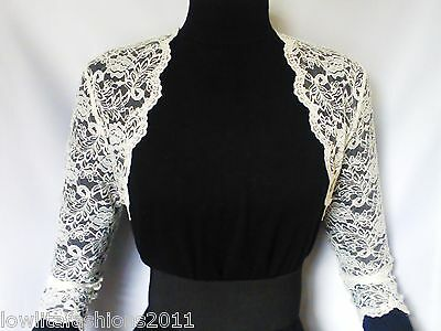 Ladies Ivory/White Lace Bridal 3/4 sleeve Bolero/Shrug/Jacket Sizes 8 10 12 14