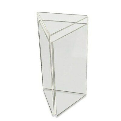 ACRYLIC 3 SIDED 1/3rd A4 MENU HOLDER DISPLAY TABLE TOP TRIANGLE IN CLEAR PERSPEX