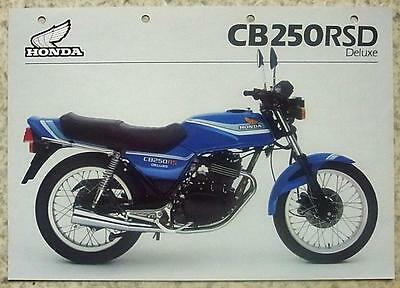 HONDA CB250RSD Deluxe MOTORCYCLE Sales Specification Sheet Jan 1982