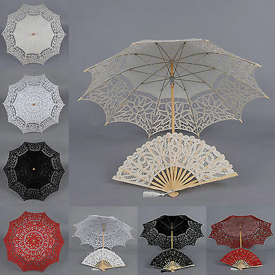 Handmade Cotton Lace Wedding Parasol Umbrella and Hand fan Set Photo Shoot Decor