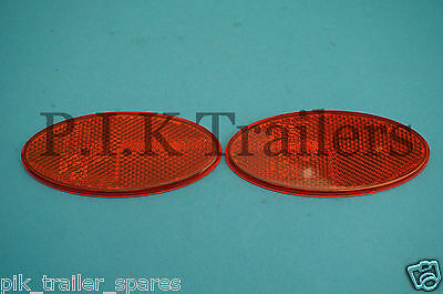 FREE P&P* 2 x Hella Oval Rear Red Reflectors Stick On - QUALITY Product