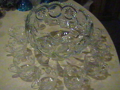 Tiffin Glass Franciscan Moon & Stars Punch Bowl Set With 12 Cups