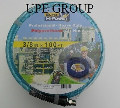 "3/8"" x 100 ft  AIR COMPRESSOR HOSE  POLYURETHANE 300 psi  1/4"" fittings air tool"
