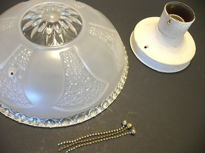 VINTAGE 1940's FROSTED Ceiling light Shade Fixture Chandelier Flowers & Hearts