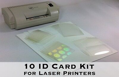 ID Card Kit for Laser - Makes 10 PVC-Like ID Cards - Includes Everything Needed