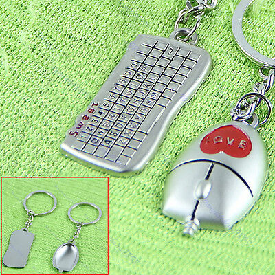 1 Pair Lovers Gift Beautiful Mouse And Keyboard Pendant Key Chain