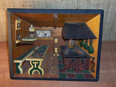 Vintage 3-D WOOD Carved Scene Wood Interior of a Cabin Wooden Shoes Wall Hanging