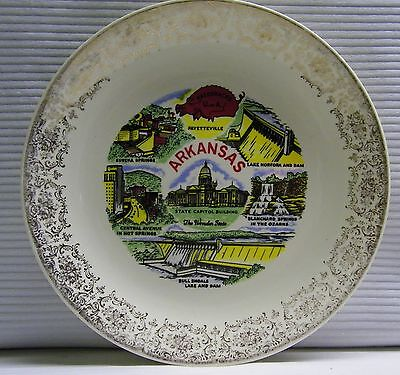 Arkansas Souvenir Plate Bull Shoals Eureka Springs Lake Norfolk Razorbacks VTG