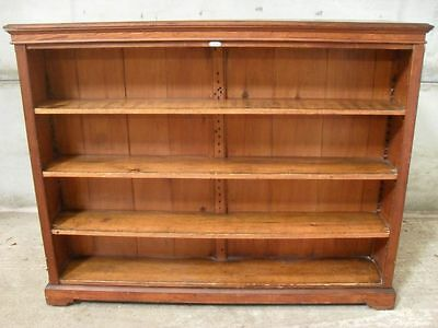 Fantastic Victorian Pitch Pine double sided adjustable open library bookcase