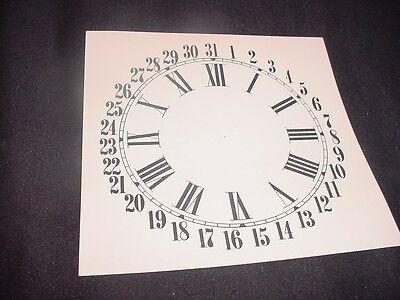 "7 1/4' square or 7"" Calendar Replacement Cream and Black Paper Clock Dial ZZ31"