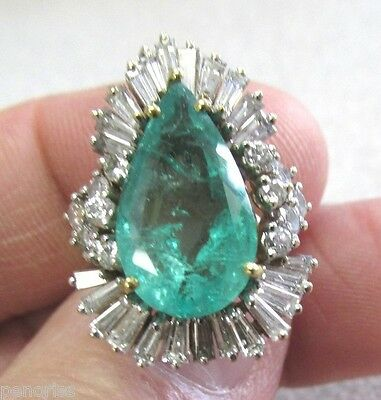 Beautiful Estate  Large Emerald & Diamond Ring size 4-1/4   Make Offer