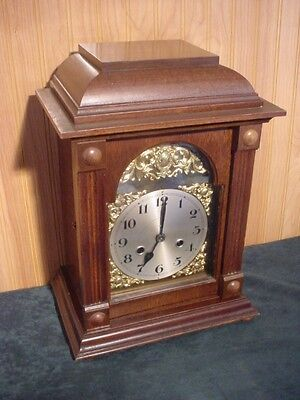 German Walnut And Brass Accents Bracket 8 Day T&S Mantle Clock (Aisle1)