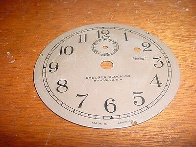 """Old Vintage Chelsea Clock Company 3 3/4"""" Replacement Silver Colored Dial  e265"""