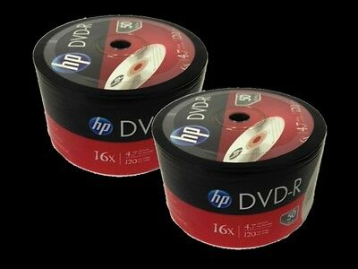 100 Pieces HP Logo 16X DVD-R DVDR Recordable Blank Disc