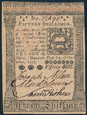 Pa-168 Pennsylvania Colonial Currency 15 Shillings 10-1-1773 Choice Cu Hv4167