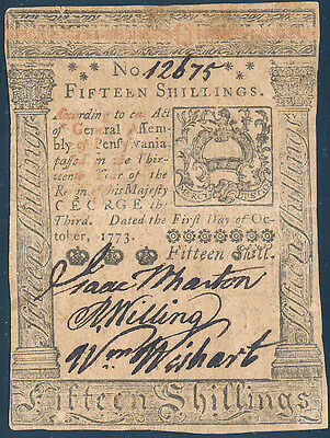 Pa-168 Pennsylvania Colonial Currency 15 Shillings Oct 1,1773 Issued Au Bp8900