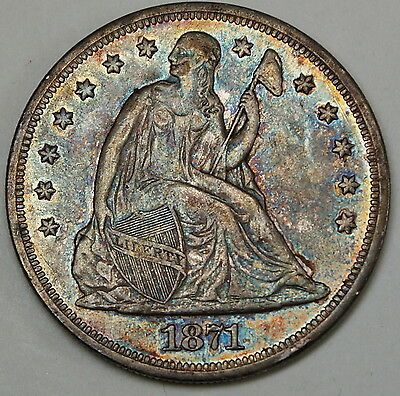 1871 Seated Liberty Silver Dollar PCGS XF-45 *Gorgeously Toned* DGH